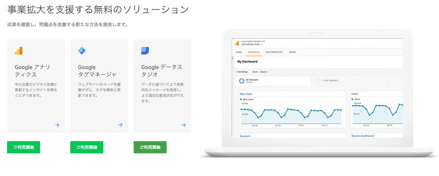 google アナリティクスサービス 画像